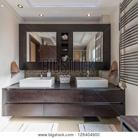 Luxurious modern bathroom with dark wood and cube shaped double washbasin