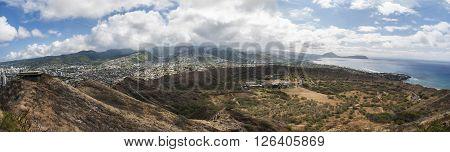 Panoramic view of top of Diamond Head on Oahu Hawaii.