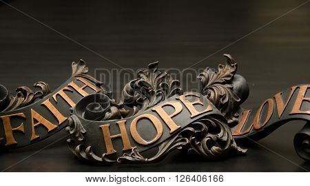 Faith Hope and Love ornate indoor decor