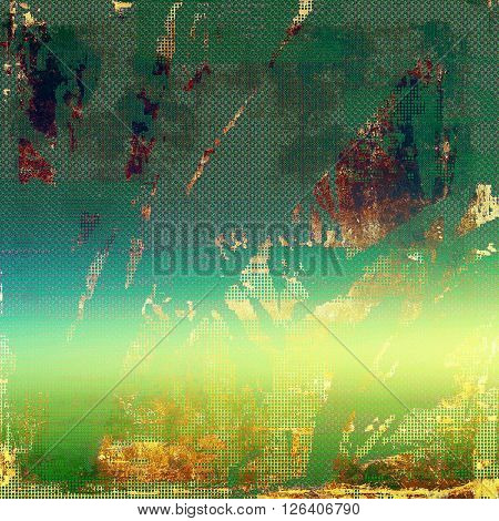Vintage old-style texture, worn and rough grunge background with different color patterns: yellow (beige); brown; green; blue; cyan