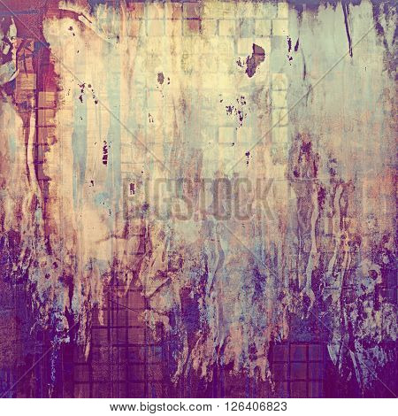 Retro background with vintage style design elements, scratched grunge texture, and different color patterns: yellow (beige); brown; gray; blue; purple (violet); pink