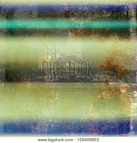 Background with dirty grunge texture, vintage style elements and different color patterns: yellow (beige); brown; gray; green; blue