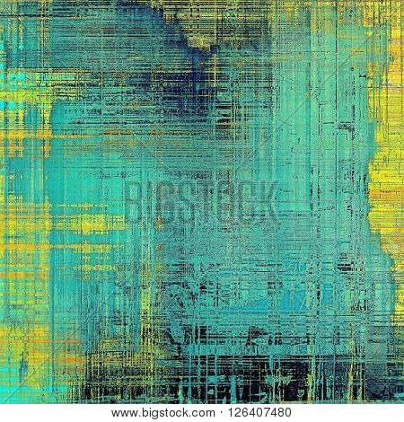 Vintage background, antique grunge backdrop or scratched texture with different color patterns: yellow (beige); blue; black; cyan