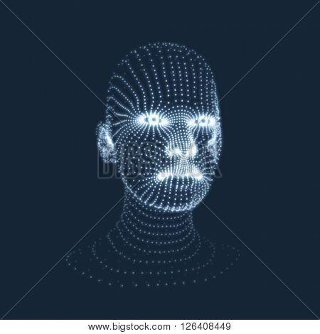 Head of the Person from a 3d Grid. View of Human Head. Can be used for Avatar, Science, Technology