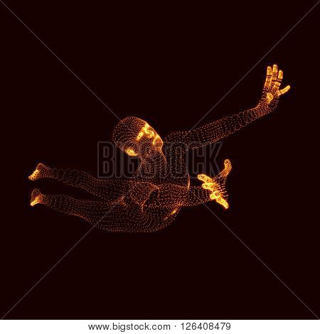 Jumping Man. Vector Graphics Composed of Particles. Human Body Model.