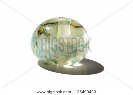 Hand made like marble glass bead on white background