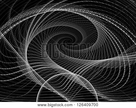 Abstract background - computer-generated monochrome image. Futuristic tunnel or the spiral of twisted threads. Fractal background for banners, posters, web design.