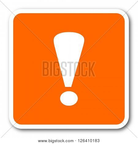 exclamation sign orange flat design modern web icon