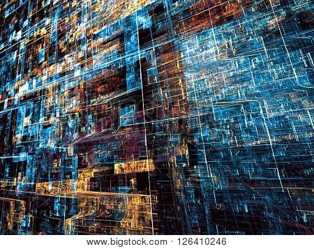Fractal background - abstract computer-generated. Bright chaos lines on a dark background - modern technology style image.