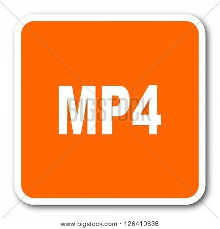mp4 orange flat design modern web icon