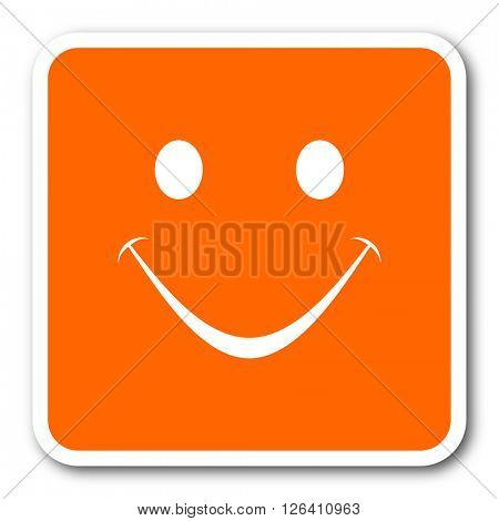 smile orange flat design modern web icon