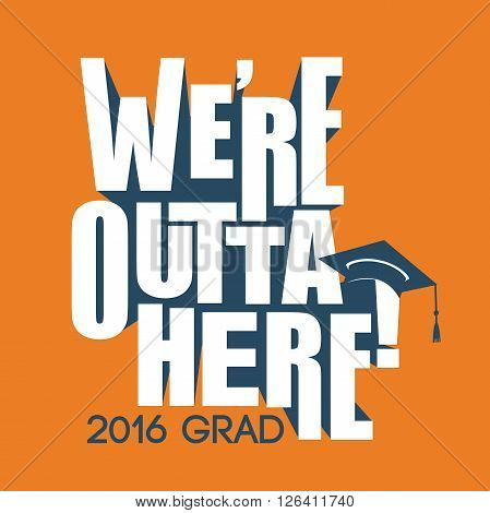2016 Congrats or Congratulations Graduate Typography Intended for Graduating Seniors and the Class of 2016.  Graphic Can be Used for Invitations, Infographics, Tshirt Designs, Etc.