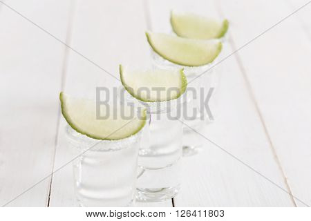 Alcohol. Vodka shot on the table
