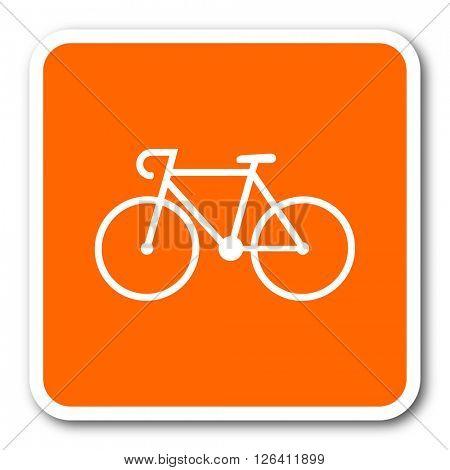 bicycle orange flat design modern web icon