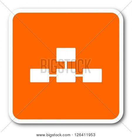 database orange flat design modern web icon