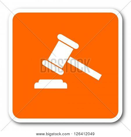 auction orange flat design modern web icon