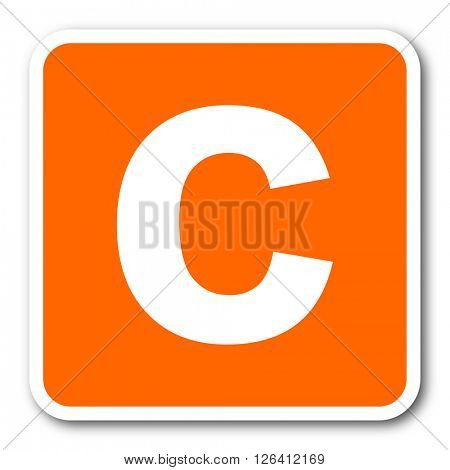 copyright orange flat design modern web icon