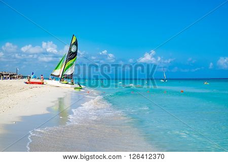 HAVANA,CUBA- MARCH 17,2016 : The beautiful beach of Varadero in Cuba
