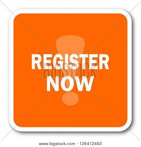 register now orange flat design modern web icon