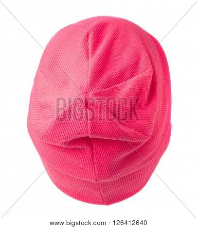 Pink Knitted  Beanie Isolated On White Background