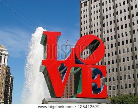 Philadelphia, Pennsylvania, USA - Sep 23, 2014 The Love Sculpture is an iconic sculpture, created by the Pop Art artist Robert Indiana.