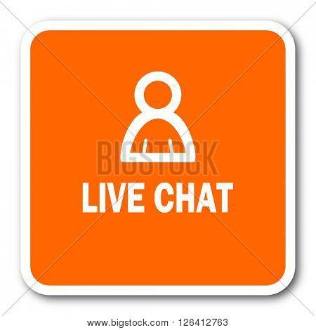 live chat orange flat design modern web icon