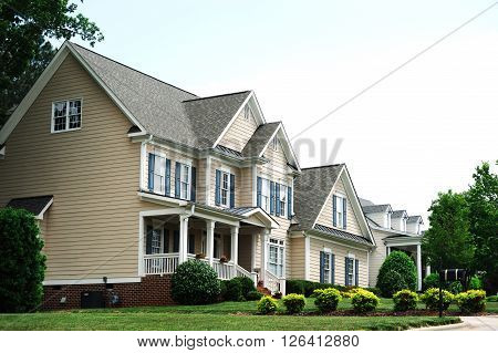 townhouse and exterior landscaping in residential area
