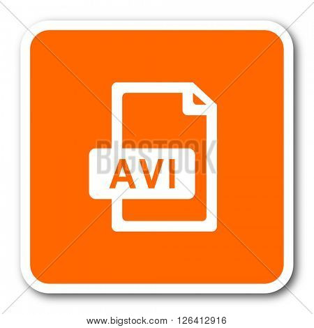 avi file orange flat design modern web icon