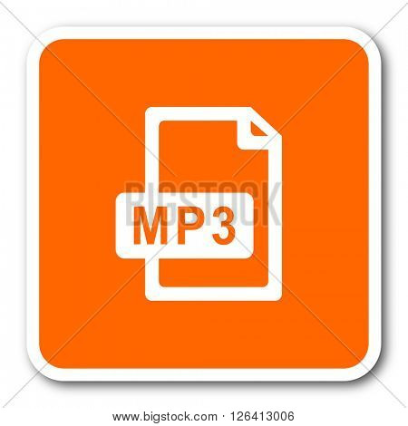 mp3 file orange flat design modern web icon