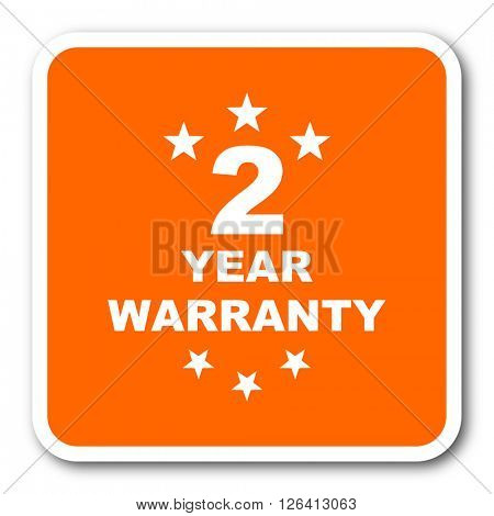 warranty guarantee 2 year orange flat design modern web icon