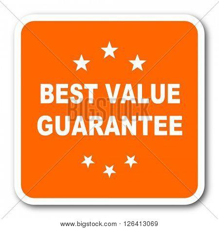 best value guarantee orange flat design modern web icon