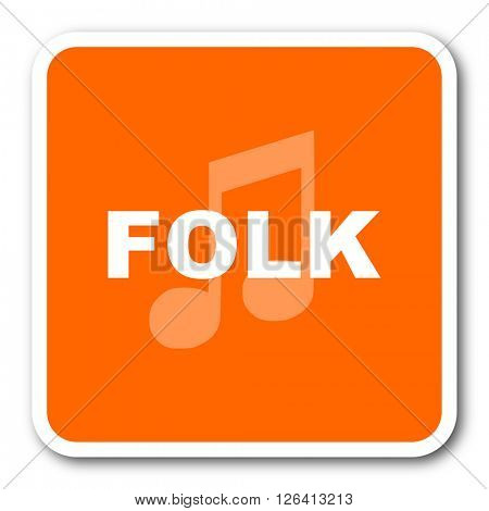 folk music orange flat design modern web icon