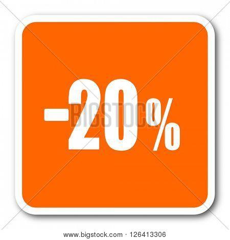 20 percent sale retail orange flat design modern web icon