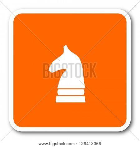 chess horse orange flat design modern web icon