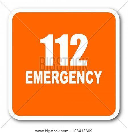 number emergency 112 orange flat design modern web icon
