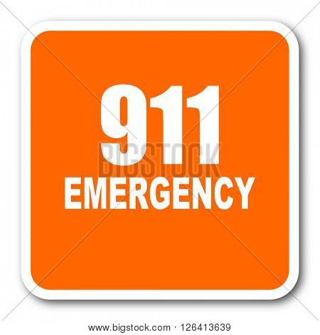 number emergency 911 orange flat design modern web icon