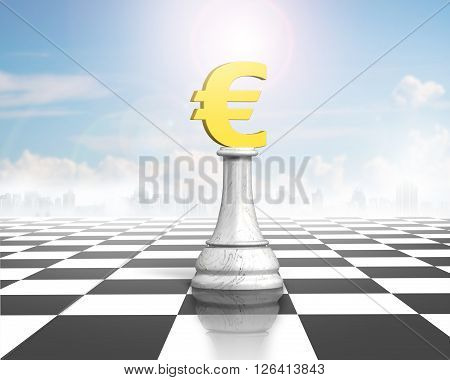 Money Chess Of Golden Euro Currency On Chessboard