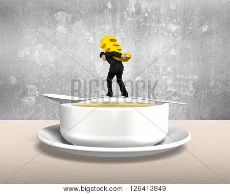 Man Carrying Euro Sign Balancing On Spoon With Soup Bowl