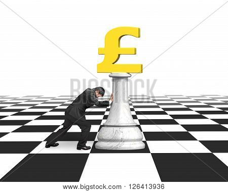 Man Pushing Money Chess Of Golden Pound Currency