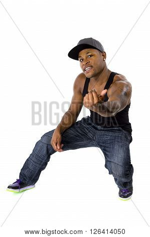 Fit hip hop dance workout instructor or personal trainer motivating the viewer