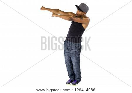 Fit hip hop dance instructor or musician with mic tattoo advertising something