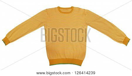 Orange and white striped long sleeve t-shirt isolated on white. Clipping path included.