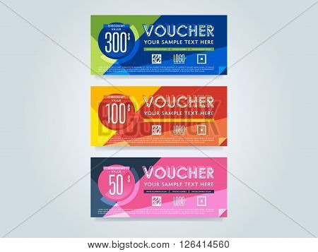 Voucher design. Discount coupon. Special offer voucher. Layout voucher. Voucher background. Sale voucher coupon. Voucher. Gift voucher template. Discount voucher. Gift certificate. Sides of gift voucher. Gift coupon template. Vector voucher template.