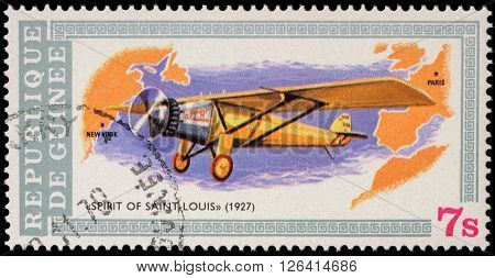 MOSCOW RUSSIA - APRIL 17 2016: A stamp printed in Guinea shows plane