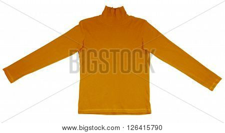 Orange t-shirt with long sleeves isolated on white. Clipping path included.