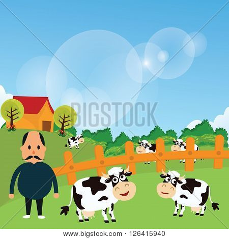 farmer stand with his farm cow cattle eat grass in green grass field cartoon vector drawing illustration cartoon