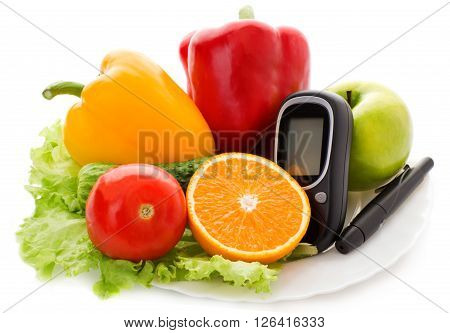 glucometer for glucose level and healthy organic food on a white background. Diabetes concept