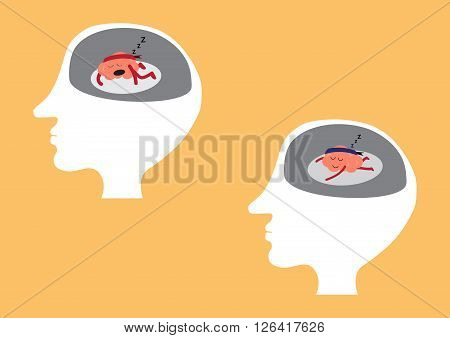 brain cartoon character vector illustration showing different sleeping manners inside human head (conceptual image about brain is not working when you are tired or exhausted or sleeping or relaxing)