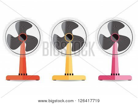 Desktop electric fan icon Home appliances electric fan elements isoleted on white background vector illustration