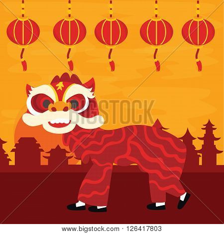 Chinese traditional dragon dance barongsai happy new lunar year celebration attraction red color vector